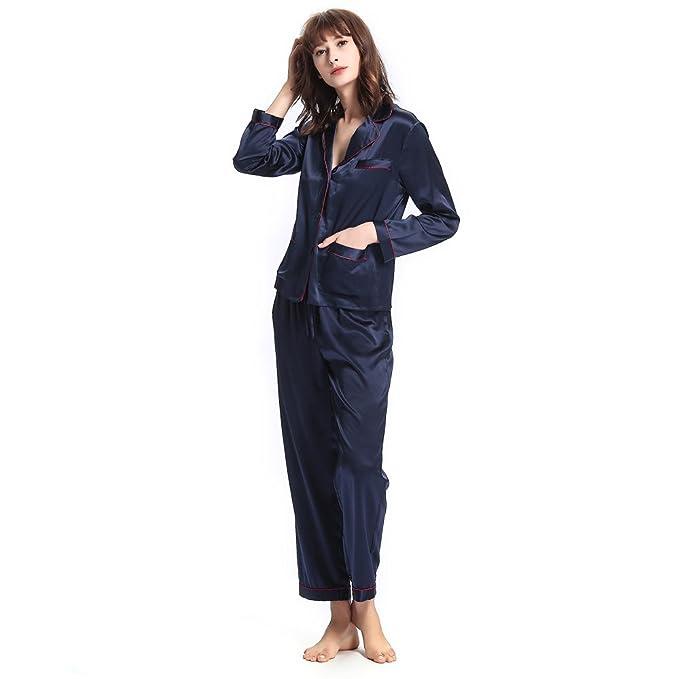 LILYSILK Pijamas Mujer de Con Guarnición De Moda - 100% Seda de Mora 22 Momme