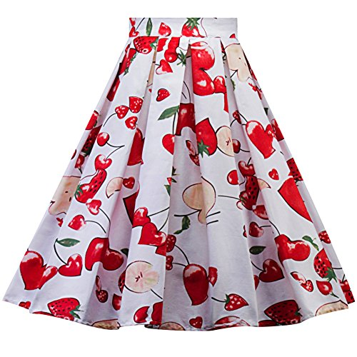 DINGTOOL Women's Vintage A-Line Floral Print Pleated Flared Midi Skirts (Apples & Cherries, XXL)