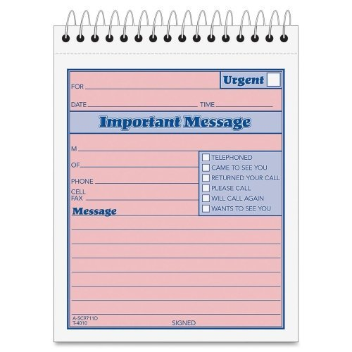 Wholesale CASE of 25 - Tops Duplicate Important Message Book-Important Message Pad, 4-1/4''x6'', 50 Sets, PK/CY Paper