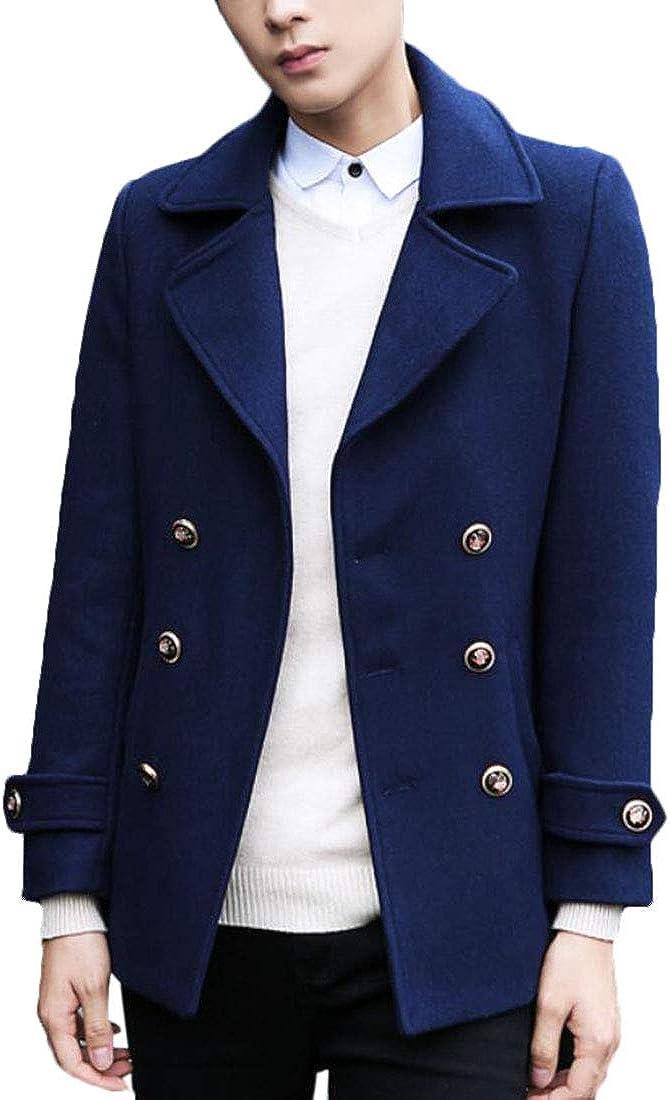 XiaoTianXinMen XTX Men Pea Coats Casual Double-Breasted Wool Blend Long Trench Coat Navy S