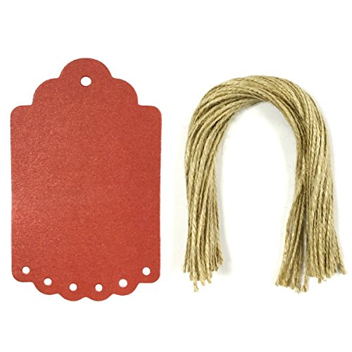 - Wrapables 50 Gift Tags/Kraft Hang Tags with Free Cut Strings for Gifts, Crafts & Price Tags, Large Scalloped Edge (Shimmer Red)