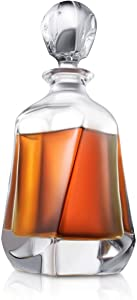 Aurora Whiskey Decanter – 25 oz Crystal Modern Decanter – Small Liquor Decanter with Stopper – Booze Decanter for Whiskey, Bourbon, Brandy, Liquor, and Rum – Scotch Bar Container