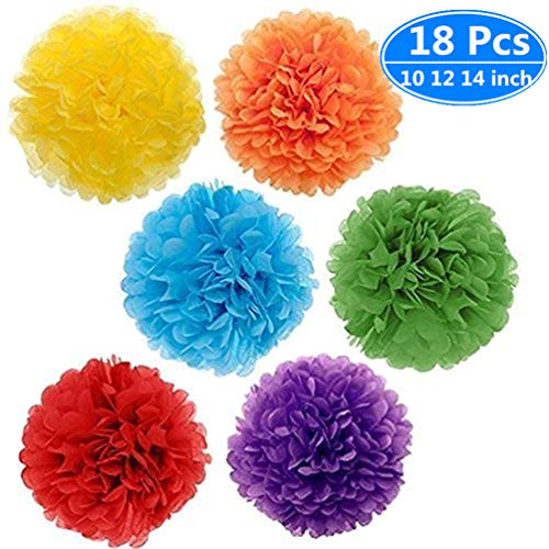 Paper Pom Poms Color Tissue Flowers Birthday Celebration Wedding Party Halloween Christmas Outdoor Decoration,18 pcs of 10 12 14 Inch by Thechot