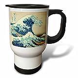 3dRose tm_155631_1'' The Great Wave off Kanagawa by Japanese artist Hokusai-dramatic blue sea ocean Ukiyo-e print 1830-'' Travel Mug, 14 oz, Multicolor