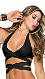 Mapalé by Espiral Women's Super Sexy Wrap Around Triangle Bra Top, Black, Medium/Large