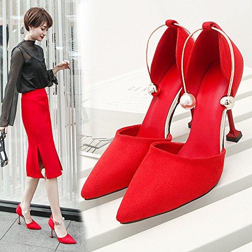 Un Talons unie Pointu Automne Chaussures Noir Mot SHOESHAOGE Mariée Talon Avec De Couleur Rouges Pearl Mariage Chaussures Boucle Seul 6wfdSqUxSH