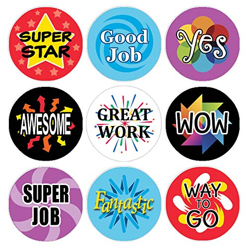 Teacher Reward Motivational Stickers for Children (Set of 1,080) (Praise Students For A Job Well Done)