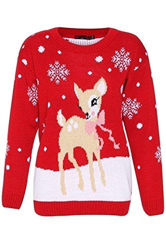 Women's Bambi Rudolph Kids Xmas Mother Daughter Son Christmas Jumper Top Size 8-26 (Flashing Christmas Jumper)