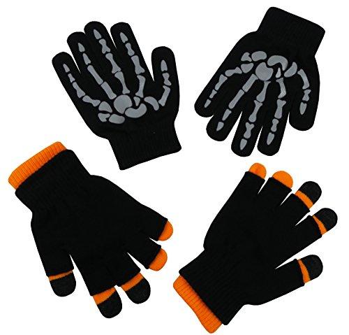 (N'Ice Caps Boys Multi Pack Magic Stretch Glove Assortment (3-5 Years, Grey Skeleton/Neon Orange))