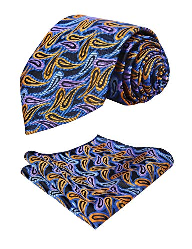 alizeal Blue Pouch uomo small purple Paisley Cravatta orange wBqXCC