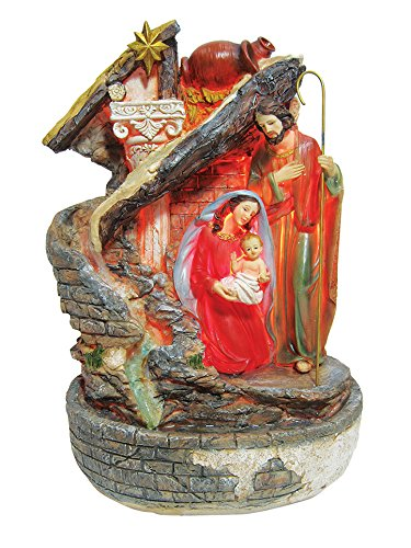 15 Inch Holy Family with Light and Water Fountain by Love's Gift