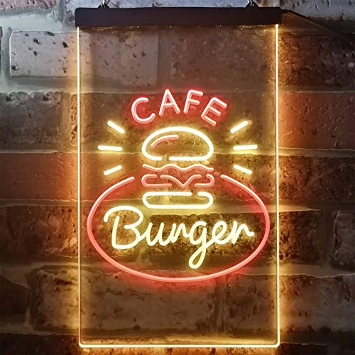 ADVPRO Burger Café Fast Food Shop Dual Color LED Neon Sign Red & Yellow 12 x 16 st6s34-i3218-ry
