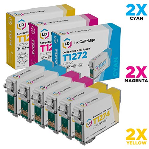 LD Remanufactured Ink Cartridge Replacement for Epson 127 Extra High Yield (2 Cyan, 2 Magenta, 2 Yellow, 6-Pack)