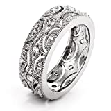 Sterling Silver and CZs Victorian Style Wedding Ring Band, Sizes 5 to 10