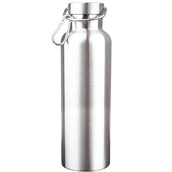 Wstorm - Botella de agua para deporte de doble pared aislada al vacío de acero inoxidable con boca ancha, sin BPA, 750 ml, color plata