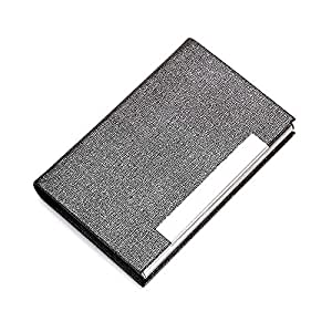 TT WARE Stainless Steel Card Holder Credit Card Case Portable ID Card Storage Box Business Travel-Grey