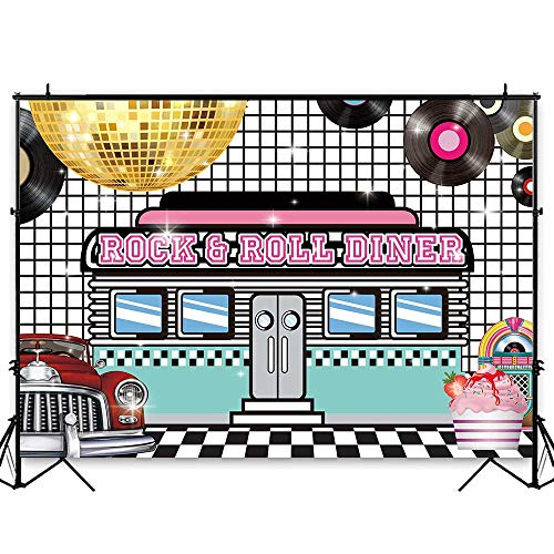 Funnytree 7x5ft 50s Retro Rock N Roll Diner Party Backdrop Sock Hop Dance Cosplay Prom Photography Background Classic 1950s Baby Adult Birthday Wedding Banner Cake Table Decoration Photo ()