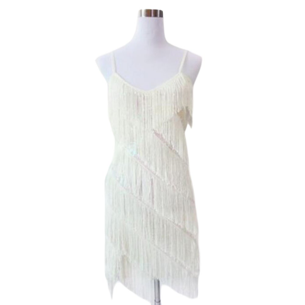 ホルターラテン/ルンバ/チャチャチャダンスドレススパンコールフリンジダンスskirt-白い