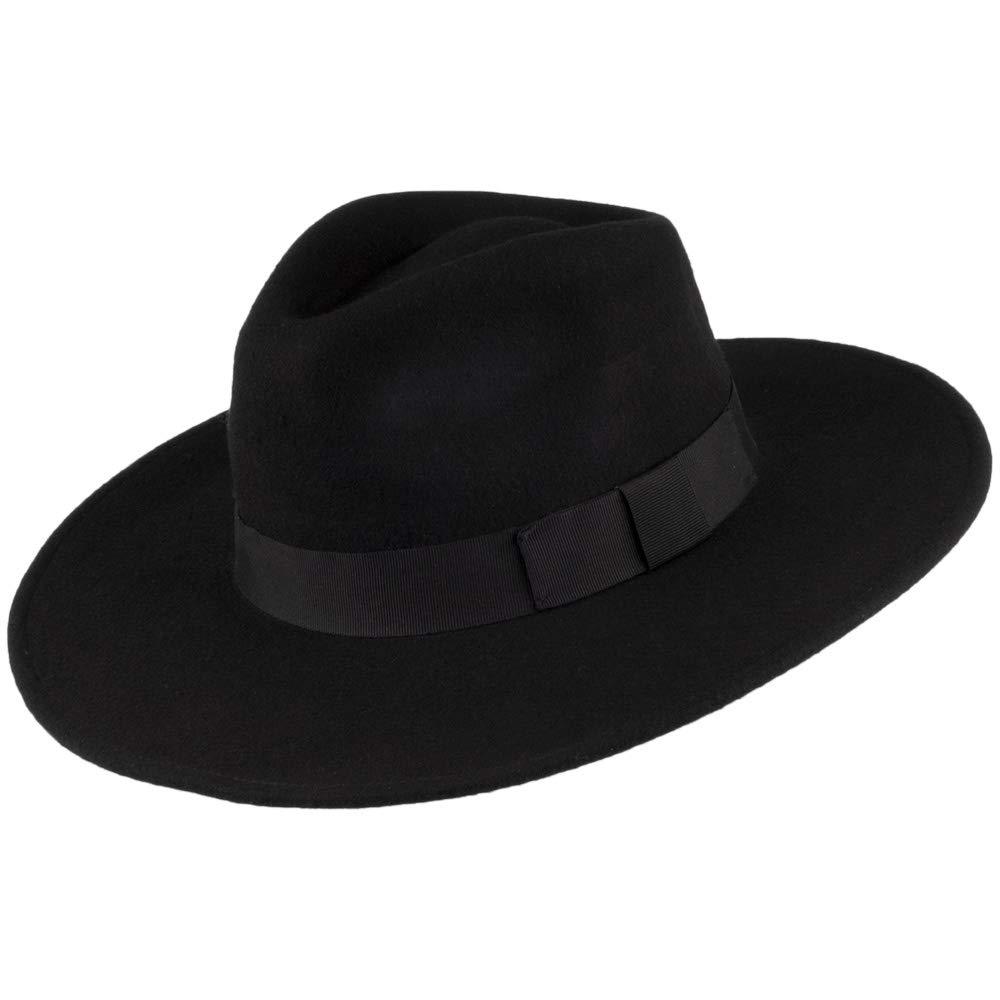 83e08620 Jaxon & James Hats The Author Wide Brim Fedora Hat - Black Medium:  Amazon.co.uk: Clothing