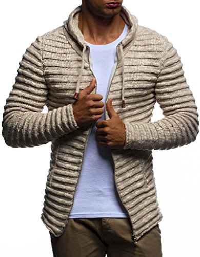 Leif Nelson LN20724 Men's Knit Jacket with Hood Knitt Zip Up Cardigan Hoodie; Size 3XL, Beige