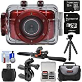 Vivitar DVR783HD HD Waterproof Action Video Camera Camcorder (Red) with Vented Helmet & Bike Mounts + 32GB Card + Case + Tripod + Kit