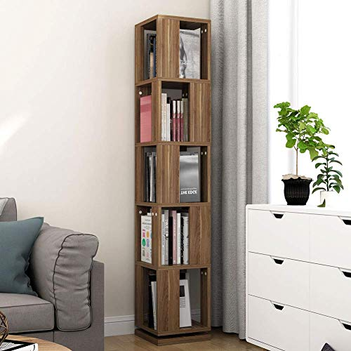 Tribesigns 5-Tier Rotating Bookshelf, Modern Corner Bookcase for Home Office (Deep Walnut)