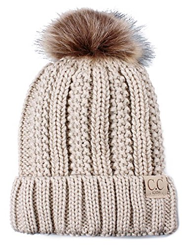 H-1820kids-60 Fuzzy Lined Pom Hat - Beige by Funky Junque