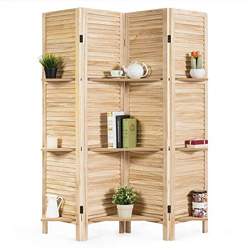 Giantex 4 Panel 5.6 Ft Tall Wood Room Divider, Folding Privacy Partition Room Divider Screens w/ 3 Display Shelves, Panel Room Dividers Privacy Screen for Home, Office, Restaurant, Bedroom (Natural)