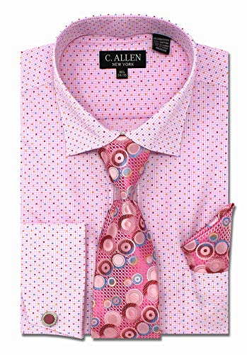 C. Allen Men's Checks Dot Printed Regular Fit Dress Shirts with Tie Hanky Cufflinks Combo Pink