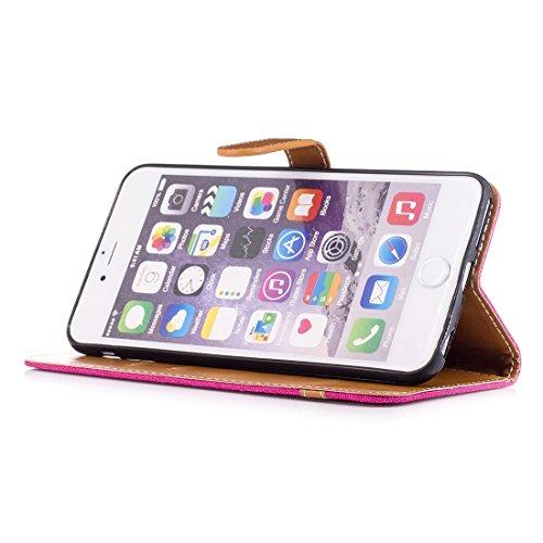 Phone Case & Hülle Für iPhone 6 Plus & 6s Plus, Denim Texture Leder Tasche mit Halter & Card Slots & Brieftasche & Lanyard ( Size : Ip6p0029m )
