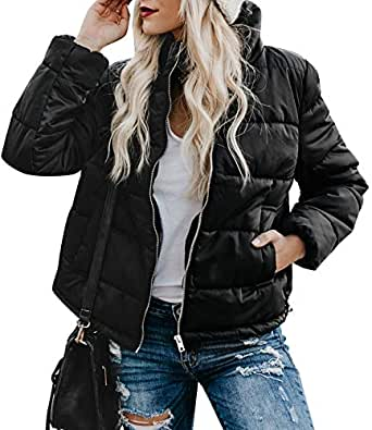 CILKOO Womens Casual Fashion Winter Solid Faux Fur Collar Zip Up Quilted Puffer Jacket Coat Outerwear with Pockets Black US4-6 Small