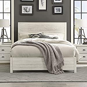 Grain Wood Furniture Montauk Full-Size Solid Wood Panel Bed Rustic Off-White Farmhouse, Nautical & Coastal