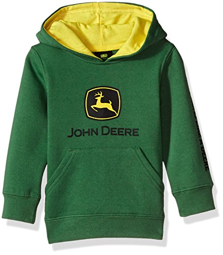 (John Deere Tractor Infant Toddler Boys' Pullover Fleece Hoody Sweatshirt, Green, 4T)