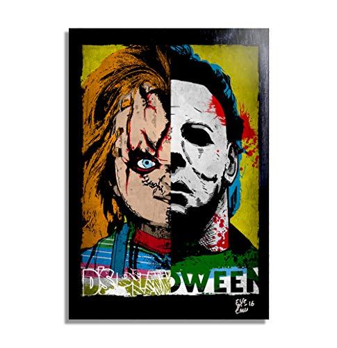 Chucky and Michael Myers - Pop-Art Original Framed Fine Art Painting, Image on Canvas, Artwork, Movie Poster, Halloween, Horror]()