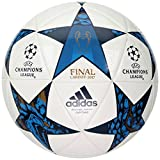adidas Performance Champion's League Finale Capitano Soccer Ball, White/Mystery Blue/Cyan, Size 5