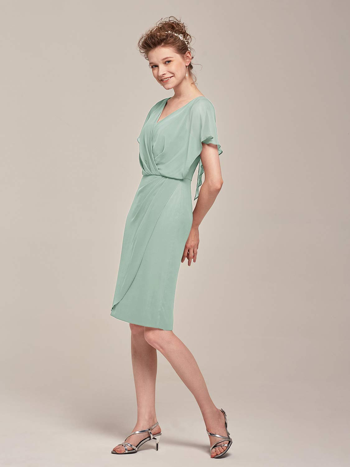 AW Mother of The Bride Dress Plus Size V-Neck Short Sleeve Formal Prom  Dress for Wedding Guest Women,Sage Green,US18