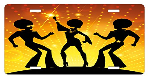 Ambesonne 70s Party License Plate, Dancing People in Disco Night Club with Afro Hair Style Bokeh Backdrop, High Gloss Aluminum Novelty Plate, 5.88 L X 11.88 W Inches, Orange Yellow Black