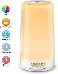 Elfeland Wake Up Light, LED Alarm Clock Sunrise Simulation Digital LED Clock Touch Control Night Light 5 Natural Sounds, Snooze, 256 Color RGB Mode, 3 Brightness Bedside Lamp for Bedrooms