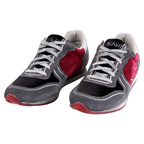 Ishikawa Hombre Guantes de zapatillas running bordo grigio isau097 Gris - gris