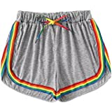 SweatyRocks Women's Summer Dolphin Running Workout Shorts Rainbow Stripe Short Pant