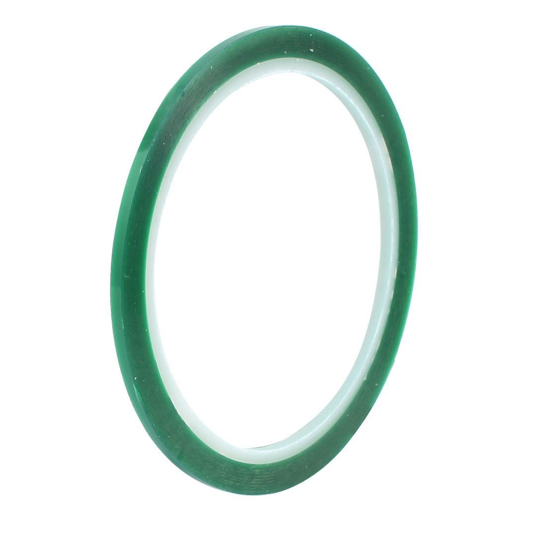uxcell 3mm Width 33M Length Green PET Self Adhesive Tape High Temp Heat Resistant