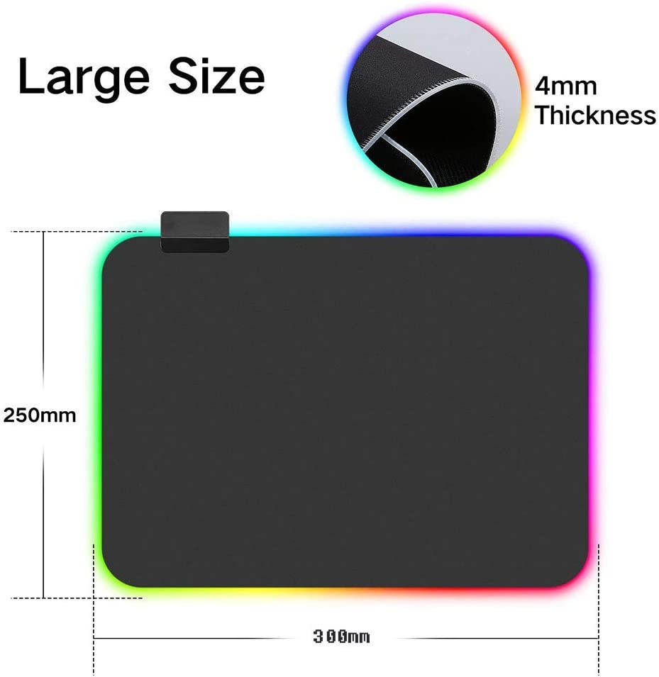 YUEBAOBEI Gaming Mouse Pad USB Interface for Laptop Computer Colorful LED Luminous Thick Lock Keyboard Pad 8 Light Modes Wristband Design Non-Slip Rubber Bottom