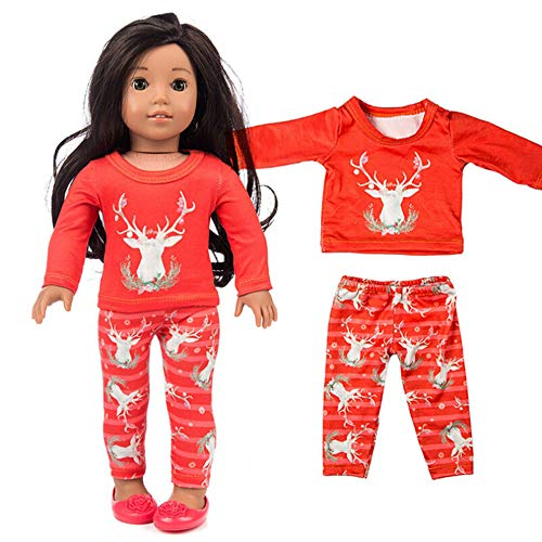 Wensltd Clearance! 2pc Elk Christmas Winter Doll Pajamas Set for 18 inch American Girl Doll