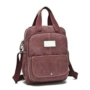 Trendy Durable Versatile Fashion Canvas Diagonal Shoulder Bag Shoulder Backpack Handbag,Burgundy