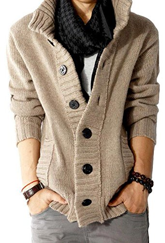 Men's Button Point Stand Collar Knitted Slim Fit Cardigan Sweater (L, Khaki)