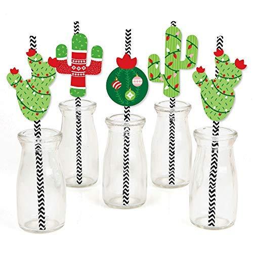 - Merry Cactus - Paper Straw Decor - Christmas Cactus Party Striped Decorative Straws - Set of 24