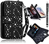 Sunroyal Samsung Galaxy S6 Edge G9250 Shining Diamond Zipper Magnetic Leather(PU) Wallet Purse Case-Card Slots/Credit ID Porckets with Hand Strap+Black Metal Touch Pen