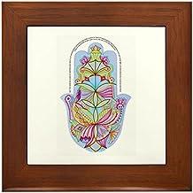 CafePress - Home Bless Hamsa (Hand) Hebrew+English, From Artis - Framed Tile, Decorative Tile Wall Hanging
