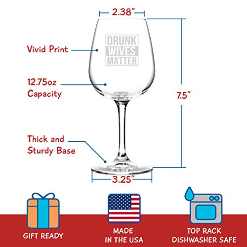 Drunk Wives Matter Funny Wine Glass- Gifts for Women- Premium Birthday Gift for Her, Mom, Best Friend- Unique Present Idea from Husband to Wife by DU VINO (Image #3)
