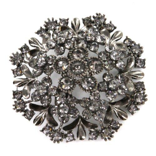Blacktone Flower Brooch Pin with Rhinestones - 2.5